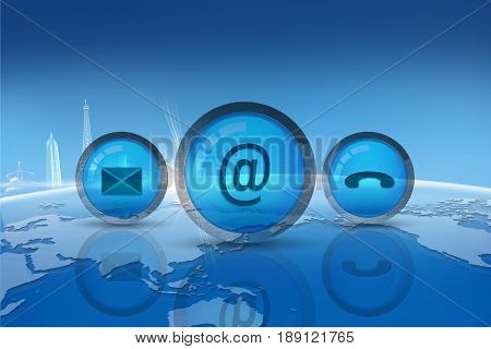 Contact Us Concept : Contact icons with blue globe background. (3D Illustration)