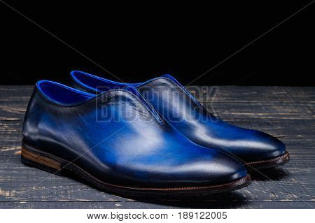 New men's leather shoes ankle on black