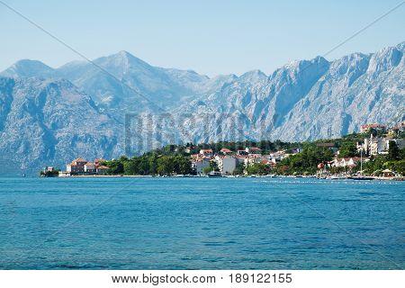 View of Kotor Bay near Dobrota Montenegro