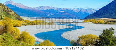 Panoramic image of beautiful scenery of Arthur's pass National Park in Autumn South Island of New Zealand
