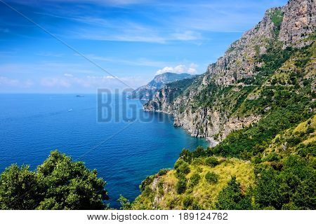 Rugged cliffs of the Lattari Mountains make the Amalfi coastline in southern Italy.