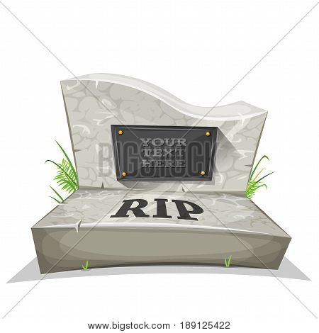 Illustration of a cartoon marble tombstone with rest in peace inscription and place for your text