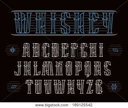 Decorative serif font in vintage style. Design for labels of alcoholic drinks - whiskey absinthe gin rum bourbon scotch craft beer