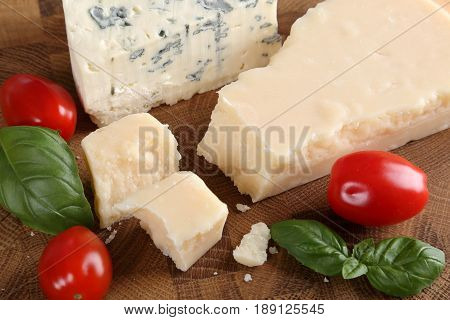 Food composition cheese and tomatoes. Dairy food.