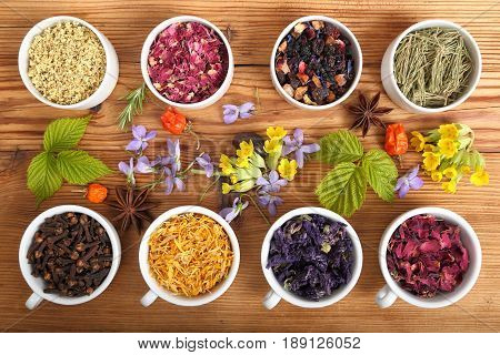Rose petals and marigold and other herbs for aromatherapy herbal medicine.