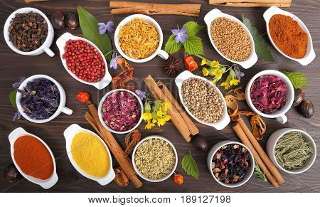 Rose petals and marigold and other herbs for aromatherapy herbal medicine. Spices.