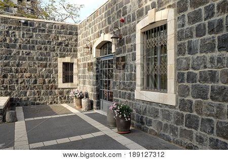 TIBERIAS ISRAEL - FEBRUARY 27 2017: Entrance to Piligrim's residence in Tiberias. Russian ecclesiastical mission in Jerusalem