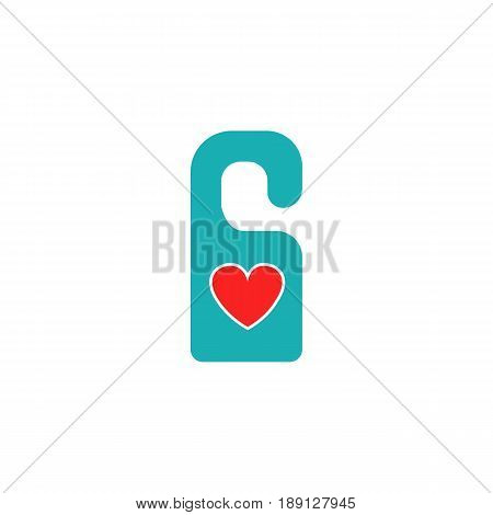 Do not disturb with heart solid icon, hotel door hanger for Valentine's day, gender, vector graphics, a colorful linear pattern on a white background, eps 10.