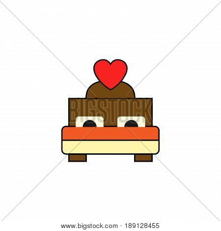 Bed with heart solid icon, Couple making love in Valentine's day, love concept, vector graphics, a colorful linear pattern on a white background, eps 10.