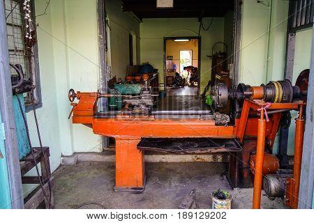 Metal Working Machine At The Old Workshop