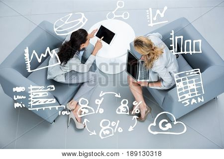Digital composite of Composite image business women using tablet and computer