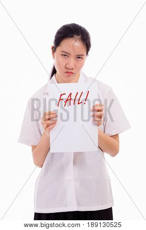 Chinese High School Girl Showing Bad Test Score
