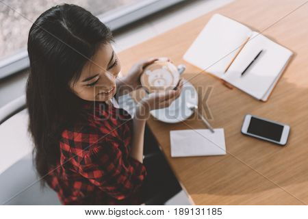 Attractive Asian Girl Drinking Coffee In Cafe, Coffee Break Concept