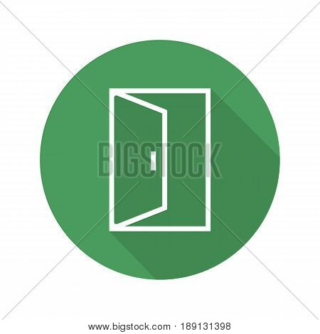Open door flat linear long shadow icon. Building exit. Doorway. Vector line symbol