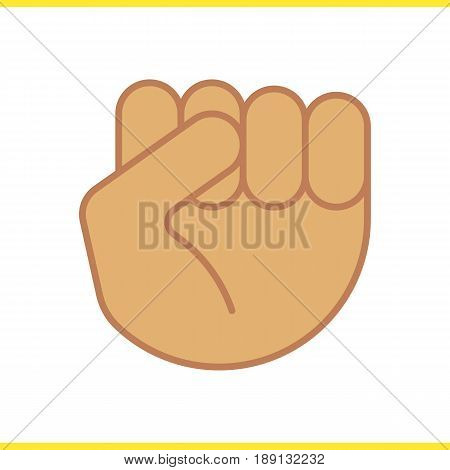 Squeezed fist color icon. Clenched hand gesture. Isolated vector illustration