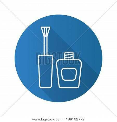 Nail polish flat linear long shadow icon. Nail varnish bottle with brush. Vector line symbol