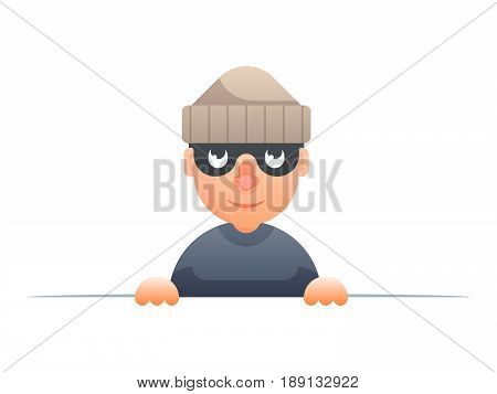 thief peeping out of cartoon characters set flat design isolated vector illustration