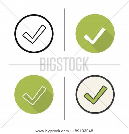 Tick icon. Flat design, linear and color styles. Confirmation check mark. Accept and approve sign. Isolated vector illustrations