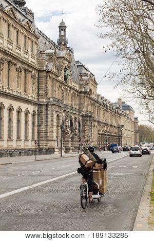 Paris, France, March 31 2017: Architectural exteriors details of the Louvre museum