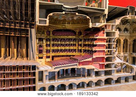 Paris, France, March 28 2017: Architectural model of The Opera or Palace Garnier. Paris, France