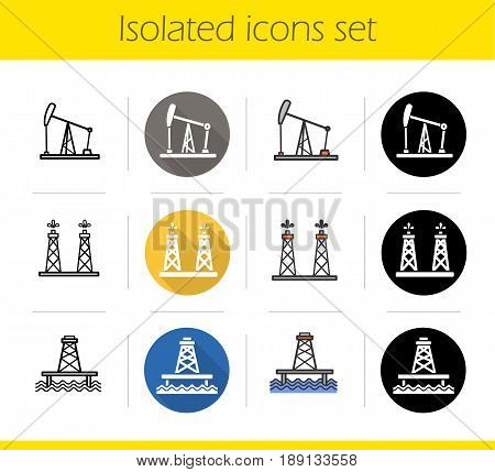 Oil industry icons set. Flat design, linear, black and color styles. Oil production platform, fossil fuel chink, petroleum offshore sea well. Isolated vector illustrations
