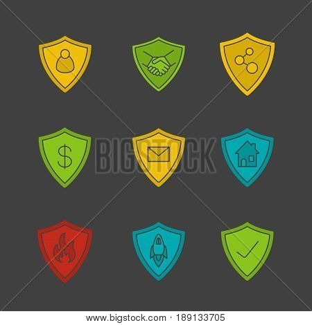 Protection shields glyph color icon set. Safe bargain, firefighters badge, money, real estate, email, connection security. Silhouette symbols on black backgrounds. Negative space. Vector illustrations