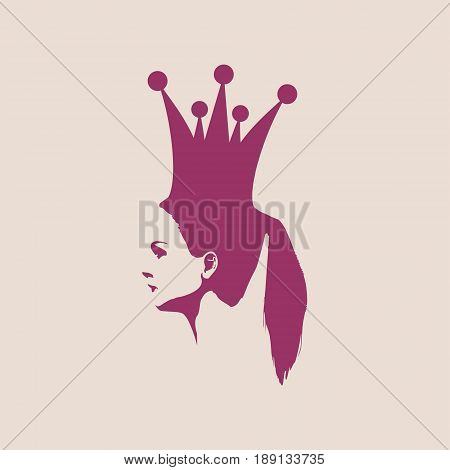 Profile view silhouette of a princess or queen. Vector Illustration. Cute adolescent girl portrait. Fashion branding emblem
