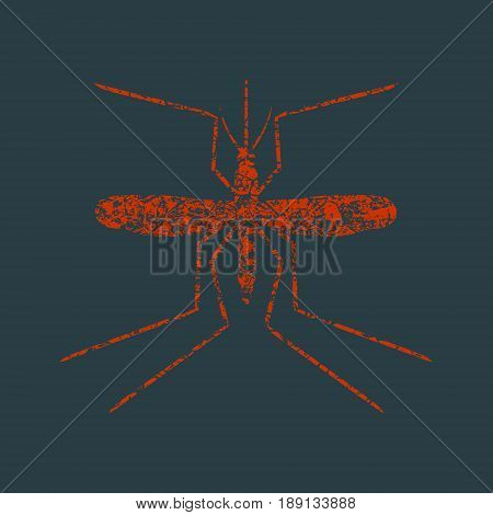 Simple icons that illustration of many disease transmitter - mosquito. Grunge cracked texture