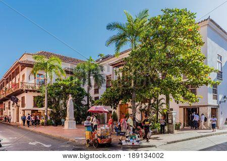 Cartagena , Colombia  - March 9, 2017 : Centro Historicoaera of Cartagena de los indias Bolivar in Colombia South America