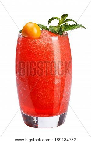 A Refreshing Fruit Cocktail. A Refreshing Drink With A Flesh Of Red Berries, Decorated With Mint And