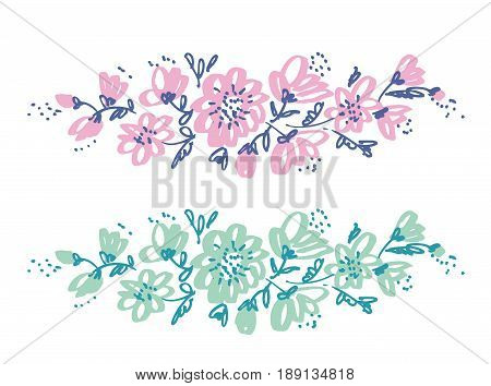 Hand drawn shabby floral design element for card, header, invitation. Sketch style pale color flowers motif.