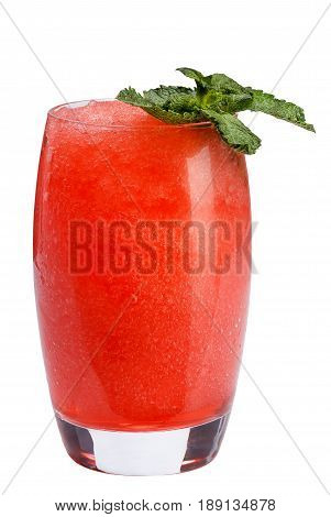 A Refreshing Fruit Cocktail. A Refreshing Drink With A Flesh Of Red Berries, Decorated With Mint.