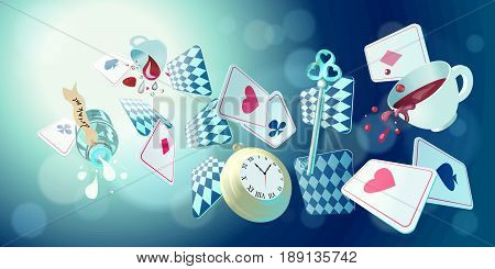 Cards, pocket watch, key, cup and poison falling down the rabbit hole. Wonderland vector background, horizontal banner