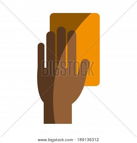 referee hand with yellow card soccer or football  related icon image vector illustration design