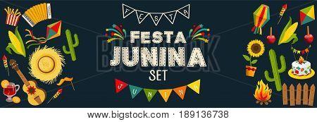 Festa junina horizontal background with decorative frame consisting of traditional celebration symbols flat vector illustration
