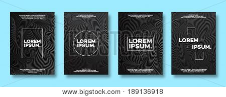Cover design template set with lines black color modern minimal gradient style for decoration brochure, catalog, poster, presentation, flyer, book, magazine etc. Vector Illustration