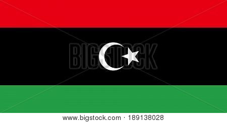Flag of Libya, vector illustration Official symbol of the country