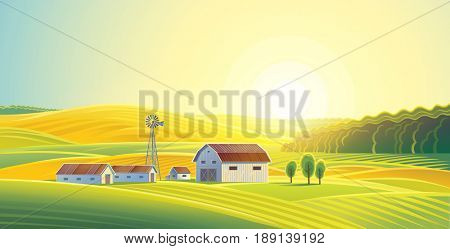 Rural landscape with fields and hills and with a farm. Raster illustration.