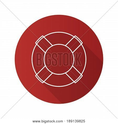 Life ring flat linear long shadow icon. Life buoy. Vector line symbol