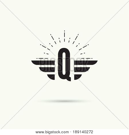Elegant dynamic alphabet letters with wings. Monogram wing logo mockup. Creative design element. Corporate branding identity. Vector template. Letter q