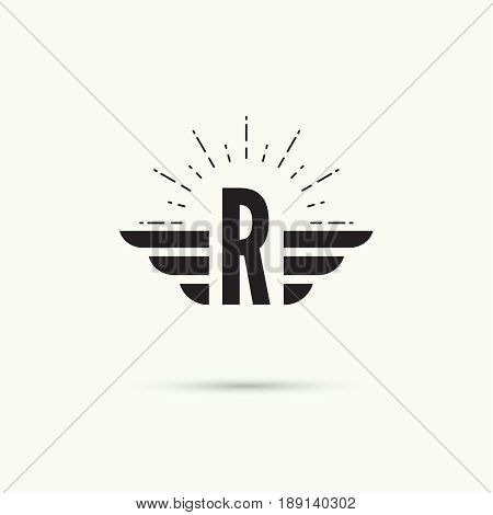 Elegant dynamic alphabet letters with wings. Monogram wing logo mockup. Creative design element. Corporate branding identity. Vector template. Letter r