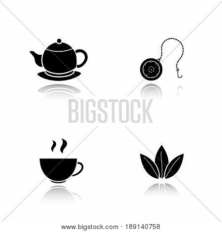 Tea drop shadow black icons set. Steaming cup, teapot on plate, loose tea leaves and ball infuser. Isolated vector illustrations