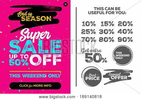 Bright Vertical Super Sale Pink Banner. End of Season Special Offer Sale Up To 50 Percent Off. Seamless Triangles Pattern. Vector Template for Shop Market Flyer Banner Advertising.