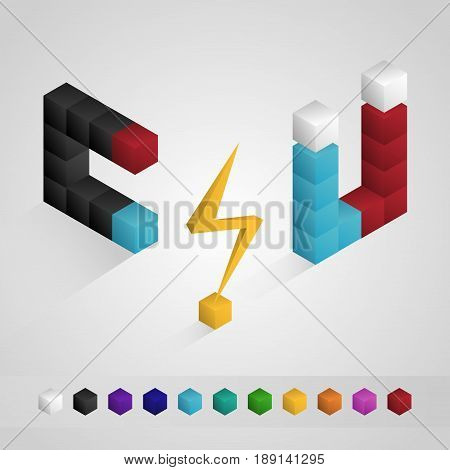 Electricity and Magnetic isometric icon isolated, cube isometric