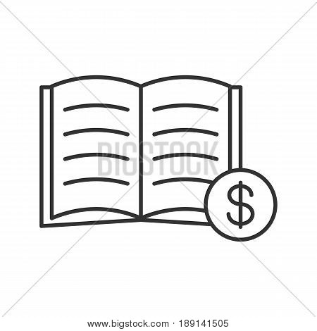 Buy book linear icon. Bookstore. Thin line illustration. Textbook with dollar sign contour symbol. Vector isolated outline drawing