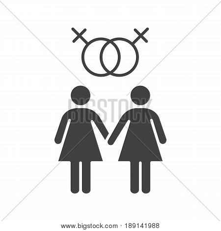 Lesbian couple icon. Silhouette symbol. Two women holding hands. Lesbian girls with interlocked Venus signs above. Negative space. Vector isolated illustration