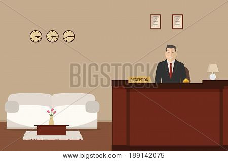Hotel reception. Young man receptionist is stand at reception desk. There is a white sofa and table with tulips also in the picture. Travel, hospitality, hotel booking concept. Vector illustration