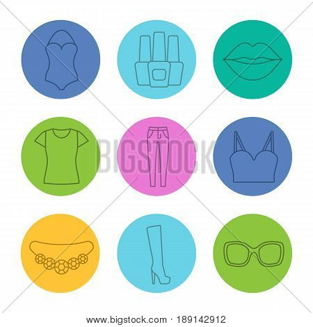 Women's accessories linear icons set. Swimsuit, nail polish bottles, lips, t-shirt, skinny jeans, top, necklace, high shoe, sunglasses. Thin line contour symbols on color circles. Vector illustrations