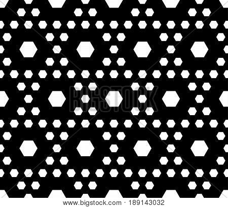 Vector monochrome texture, black & white geometric seamless pattern, different sized hexagons repeat hexagonal grid abstract background. Stylish dark modern geometrical background. Design for prints seamless pattern, textile background texture, cloth.