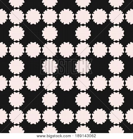 Vector seamless pattern, simple floral geometric texture. White flower silhouettes on black backdrop square grid repeat tiles seamless texture. Abstract background old style design. Element for prints abstract background, decor seamless pattern, cloth.
